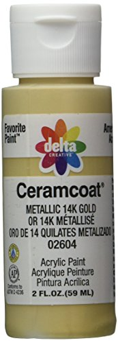Delta Creative Ceramcoat Metallic and Pearl Acrylic Paint in Assorted Colors (2 oz), 2604, Metallic 14k Gold