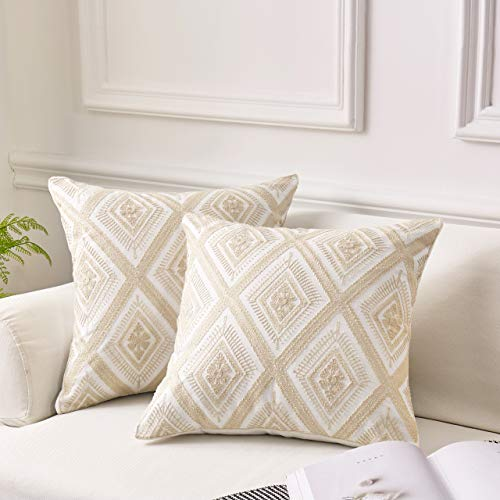 (MoMA Decorative Embroidered Diamond Throw Pillow Covers (Set of 2) - Pillow Cover Sham Cushion Cover - Throw Pillow Cover - Sofa Throw Pillow Cover - Square Pillowcase - Cream - 18