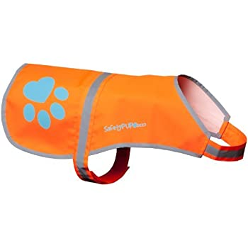 Dog Reflective Vest. Sizes To Fit Dogs 14 lbs To 130 lbs. Blaze Orange Hi Vis Dog Vest Protects Dogs From Cars & Hunting Accidents. (Large 61lbs - 100lbs)