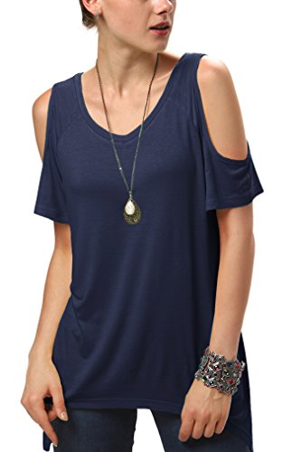 Urban CoCo Women's Vogue Shoulder Off Wide Hem Design Top Shirt - Large - Navy ()