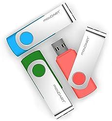 mosDART 4GB 3pack USB2.0 Flash Drive Thumb Drive Pen Drive Jump Drive,Green/Blue/Pink