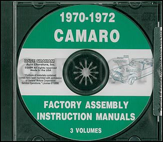 - CD 1970-1972 Camaro Factory Assembly Manual including RS, SS, & Z28