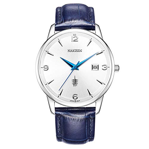 Watch Leather Band Blue Face - NAKZEN Mens Luxury Chronograph Business Japanese Quartz Wrist Watches with Leather 39mm Date Waterproof Analog Watch White
