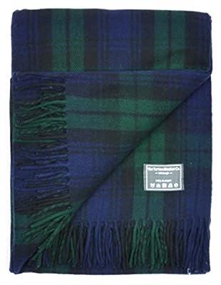 Classic Wool Blanket Rug Throw in Black Watch Tartan