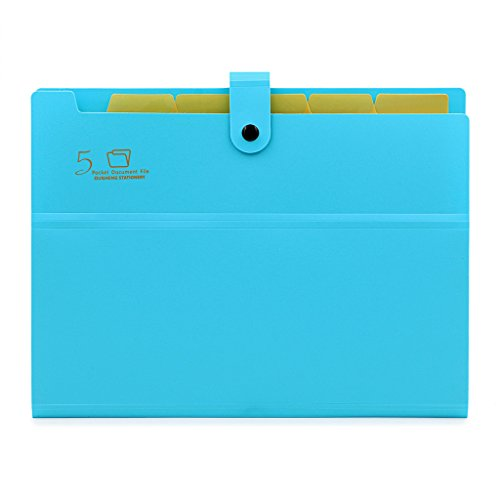 BTSKY Expanding File Folder-- A4 and Letter Size Archival Document Organizer File Jackets, 5 Pockets (Blue)