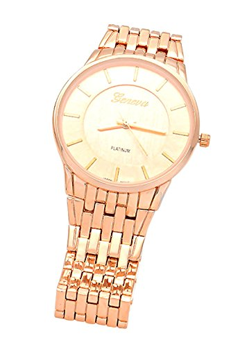 Rosemarie Collections Women's Executive Dial Rose Gold Tone Metal Watch