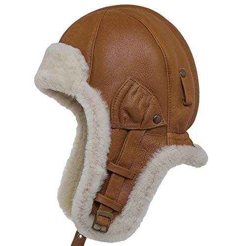 Sheepskin Cap - Sterkowski Warm Natural Shearling Leather Trapper Cap US 7 1/4-7 3/8 Brick Brown/White