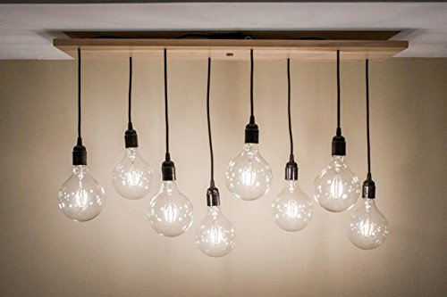 Wooden 8 Pendant Light with a Natural Finish (Eight Light Pendant Finish)