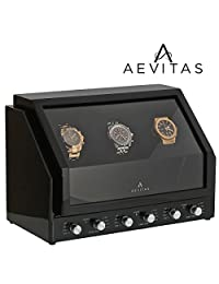 Brand New Watch Winder for 3 Watches Black Piano Wood with Black Velvet interior Premier Range by Aevitas