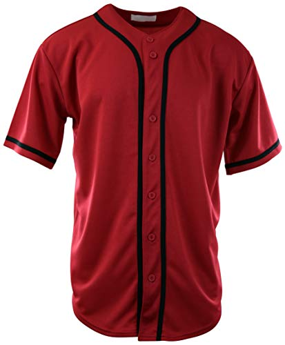 ChoiceApparel Mens Plain Solid Color Baseball Jersey (M, 107-Red/Black)