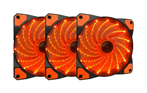 APEVIA AF312L-SOG 120mm Orange LED Ultra Silent Case Fan w/ 15 LEDs & Anti-Vibration Rubber Pads (3-pk)