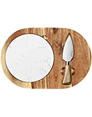 hecef Oval Wooden Cheese Board Set, Acacia Wood Cheese Serving Board with White Marble Board & Cheese Knife, Cheese Serving Tray for Cheese, Cake, Appetizers