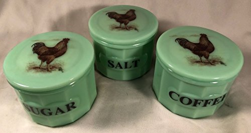 Set of 3 Crocks Canisters w/ Brown Roosters - Jade Jadeite Jadite Green Depression Style Glass - Coffee Salt Sugar (Brown Rooster) - Green Depression Glass Sugar