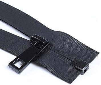 Maslin 2pcs 5#50cm60cm70cm80cm90cm Waterproof Open End Nylon Zipper for Sports Overcoat Black Zipper DIY Bag Suitcase Invisible Zipper Color: Black, Size: 5#, Length: open end 90cm