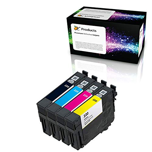 OCProducts Remanufactured Ink Cartridge Replacement 4 Pack for Epson 220  for XP-320 XP-420 XP-424 WF-2630 WF-2650 WF-2660 WF-2750 WF-2760