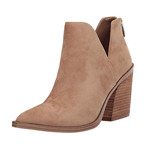 Womens Ankle Boots Slip on Cutout Pointed Toe Chunky Stacked Mid Heel Booties