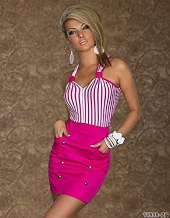 Pink Sleeveless Strap Neckline Mini Party Dress Ladies Fashion Club Dress - Size Xl