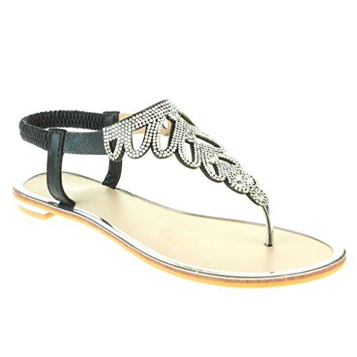 Mujer Señoras Diamante Toe Post Slingback Verano playa Casual Fiesta Punta abierta Comodidad Plano Sandalias Zapatos Tamaño Negro