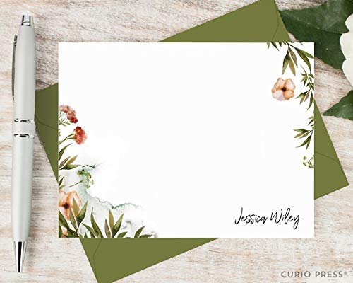 (WILDFLOWERS - Personalized Flat Floral Stationery/Stationary Note Card and Envelope Set)