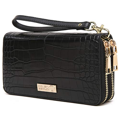 RFID Blocking Double Zip Leather Wallet Clutch Wristlet ()