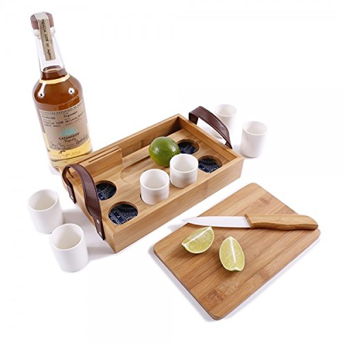 G.U.S. Eco-Friendly Bamboo Tequila Tasting Set with Cutting Board & Ceramic Knife (Set Tequila Serving)