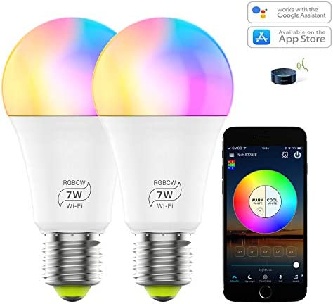 Smart WiFi Light Bulb, Dimmable RGB Color Changing LED Light Bulb 2700K-6500K 60 Watt Equivalent Sync to Music Works with Alexa, Echo, Google Home for Home Decor, Party 2 Pack