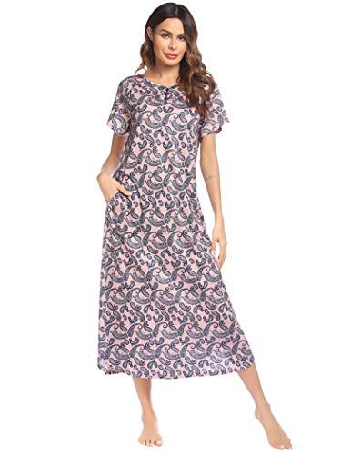 Ekouaer Long Nightgown,Women's Loungewear Short Sleeve Sleepwear Full Length Sleep Shirt with Pockets