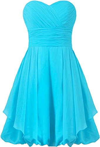Robes Courtes De Demoiselle D'honneur Des Femmes Anlin Robe Fête De Mariage Robes De Soirée De Als01 Bleu