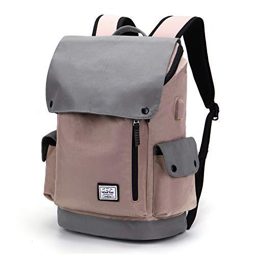 Wind Took USB Anschluss Laptop Rucksack Damen Herren Daypack Schulrucksack für 15,6 Zoll Notebook, Wasserabweisend, Rosa und Grau