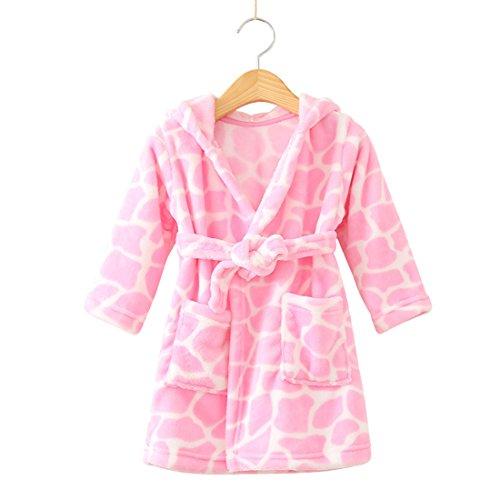 Toddlers/kids Hooded Robe Soft Fleece Bathrobe Children Pajamas Baby plush robe (4T, Pink Cow Dot)