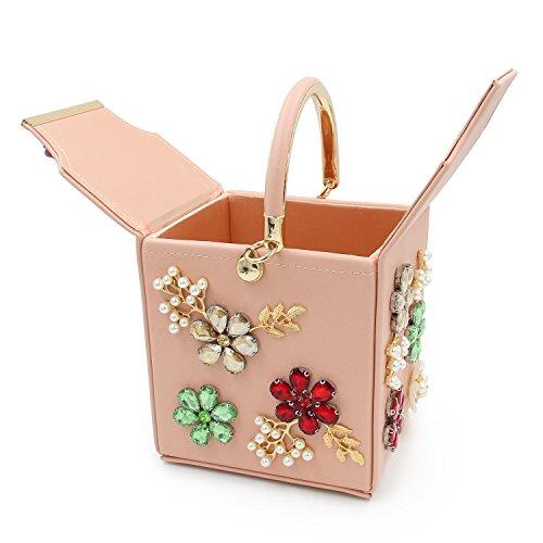 de Femme Clutch Cuir à Perle Sacs Pink Main Embrayage Cristal Mariage TuTu Fleur Sacs Soirée de Sacs HIBwwq
