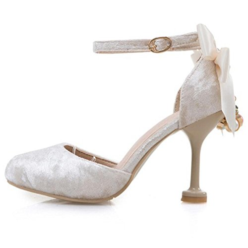 Coolcept Women Ankle Strap Heel Sandals Bow Beige-31 5U3bi670YT