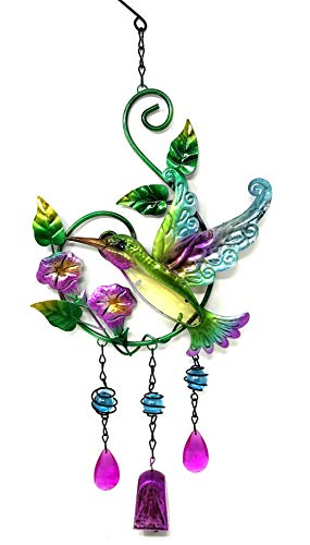 Bejeweled Display® Hummingbird & Flower w/ Stained Glass Wind Chimes Bell