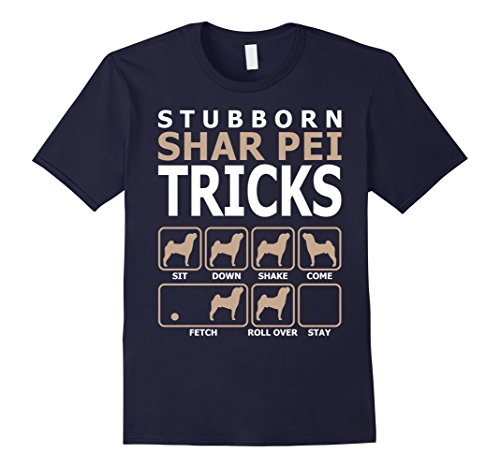 Mens Stubborn Shar Pei Tricks T-Shirt Tshirt Large Navy