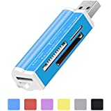 Card Reader USB 2.0 SD/TF Memory Card Writer Adapter All in 1 Multifunctional Lightweight Stable Support SD/Mini-SD/SD Ultra/MMC/MMCII/RS-MMC/HS-MMC/SDC/T-Flash Blue