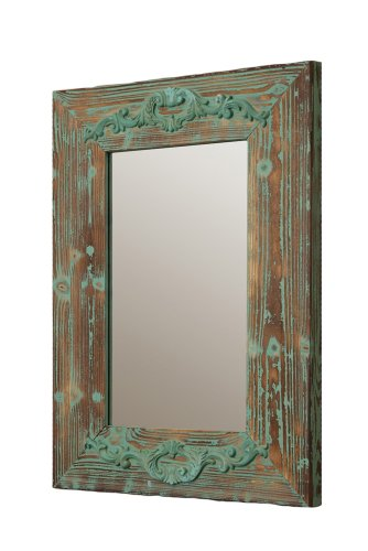 Your Heart's Delight Scrolled Decor Wooden Mirror, 20-1/2 by 28-1/2 by 1-1/2-Inch, Vintage Green by Your Heart's Delight