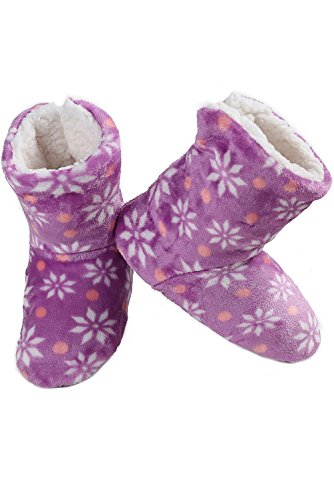 ICONOFLASH Womens Printed Bootie Slipper with Faux Shearling Lining Purple Snowflakes ASGwMDrY