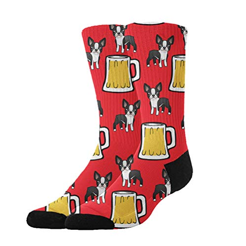Jinkela Unisex Happy New Year Boston Terriers with Beer Graphic Novelty Stockings Funny Crazy 3D Print Casual Long Crew Tube Socks