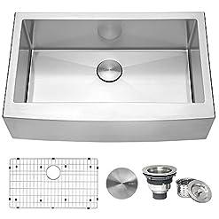 Farmhouse Kitchen Ruvati 33-inch Farmhouse Apron-Front Kitchen Sink Stainless Steel Single Bowl – RVH9233 farmhouse kitchen sinks