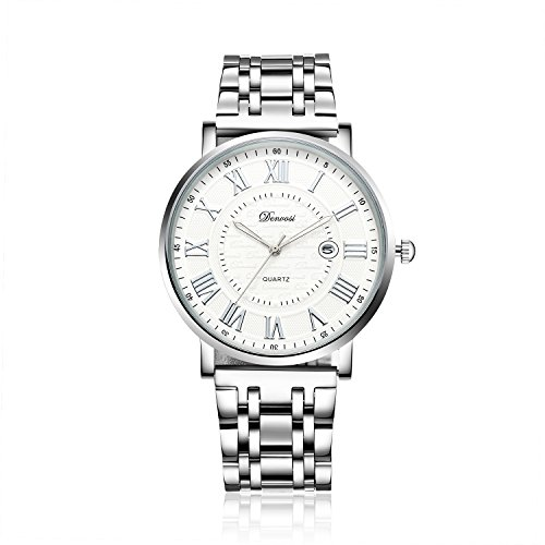 Denvosi Couple Casual Roman Watch Classic Sliver Stainless Steel Band Quartz Wrist Watch with Calendar Window for Men and Women