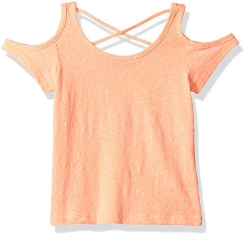 The Children's Place Big Girls' Cold Shoulder T-Shirt, Neon Peach, L (10/12)
