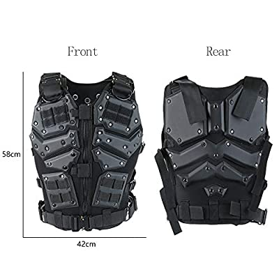 ActionUnion Airsoft Tactical Vest Military Costume Molle Chest Protectors Gilet Paintball Vest CS Field Outdoor Modular Combat Training Adults Men Special Forces Adjustable EVA Black