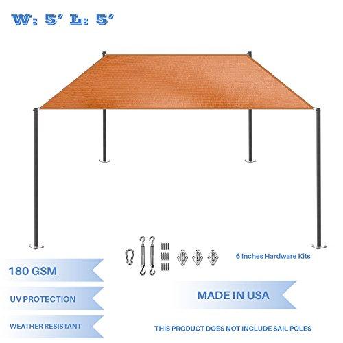 E K Sunrise 5 x 5 Orange Rectangle Sun Shade Sail with Stainless Steel Hardware Kit Outdoor Shade Cloth UV Block Fabric,Straight Edge-Customized