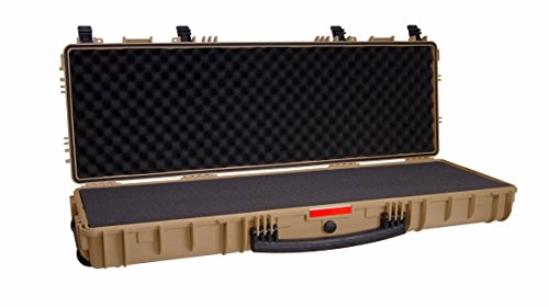 Desert TAN - Tactical Double Rifle 2 Case AR-15 Pick and Pluck Waterproof Hard Airsoft Gun Shotgun All-Weather Tactical Shooting Range Bag Heavy-Duty Handle Wheels Accessories Gear TSA Approved (What Is From Resin Made)