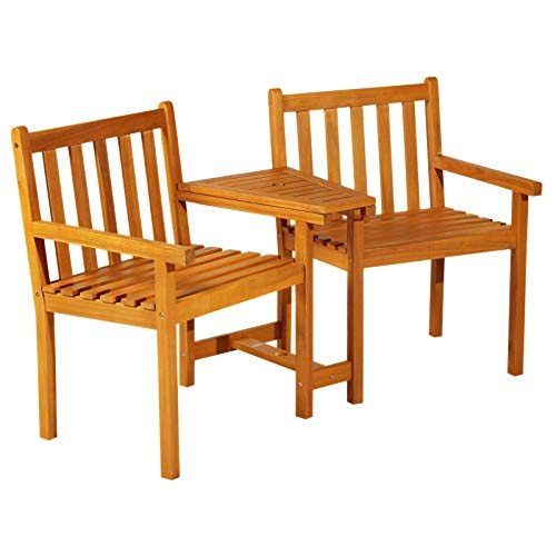 - Outsunny Acacia Wood Outdoor Slatted Tete A Tete Bench Chair with Umbrella Hole