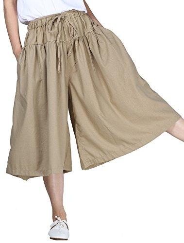 Mordenmiss Women's Smocked Waist Harem Wide Leg Capri Pants Culotte
