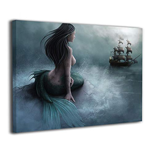 Kingsleyton Mermaid and The Sailing Pirate Ship Modern Painting Big Framed Wall Art Picture Print On Canvas The Giclee Artwork for Home Decor and Office Decorations (Ship Mermaid And)