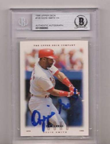 1996 Ozzie Smith Signed Card Beckett Authentic Autograph - Upper Deck Certified - MLB Autographed Baseball ()