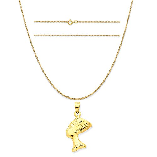 K&C 14k Yellow Gold 3-D Nefertiti Pendant on a 14K Yellow Gold Carded Rope Chain Necklace, 16