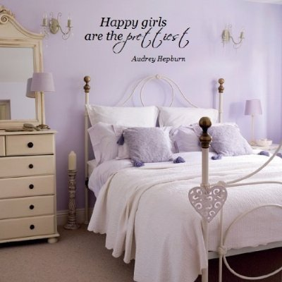Happy girls are the prettiest Audrey Hepburn 28x11quote wall decal vinyl